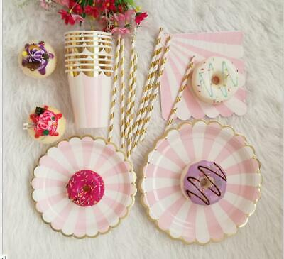 Paper Disposable Tableware Pink Gold stripe Plate Cup Wedding Birthday Party set