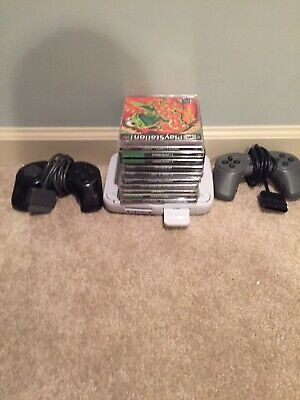 Sony Playstation 1 PSOne PS1 Slim SCPH-101 Console Bundle 9 Games TESTED Ps1 Lot