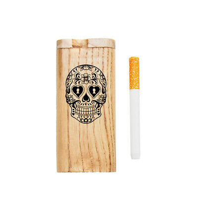 """4"""" Wooden Tobacco Dugout Set with Ceramic One Hitter Smoking Pipes SKULL"""