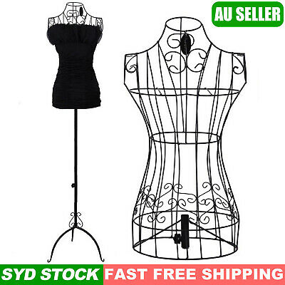 1x Female Vintage Mannequin Black Wrought Iron Wire Adjustable Height Hanger Wed