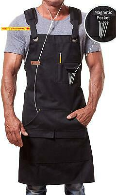 Ment Trends Work Apron For Men Women Heavy Duty Waxed Canvas Black Waterproof Sh
