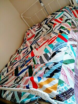 """Quilt Top Patchwork 72"""" x 96"""" Double Full Single Twin XL Crafts Bedding Vintage"""