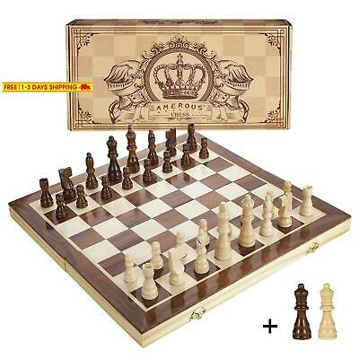 Amerous 15 Inches Magnetic Wooden Chess Set - 2 Extra Queens - Folding Board, Ha