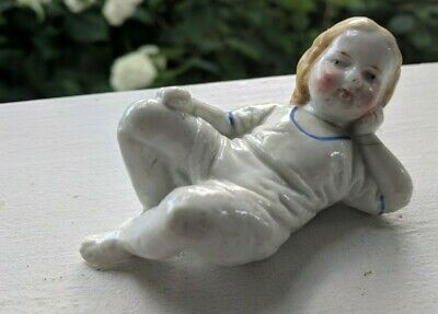 Antique Porcelain Piano Baby Small Doll Figurine Miniature China