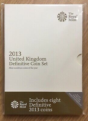 Royal Mint 2013 UK Definitive Coin Set Eight Coins Cream Cover
