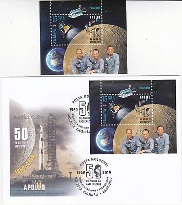 2019  Moldova  50 Yrs from the first Moon Landing  Apollo XI Space USA  s/s FDC
