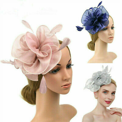 Women Flower Fascinators Headband Wedding Organza Headpieces Ladies Headwear