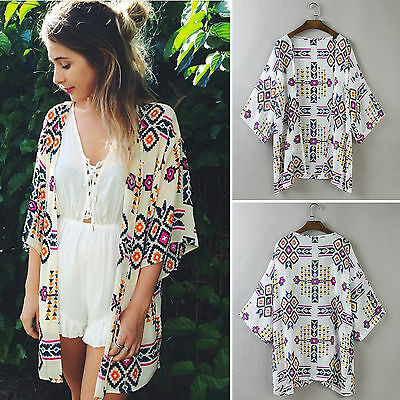 Women's Holiday Floral Kimono Cardigan Coats Ladies Beach Bikini Cover Up Blouse