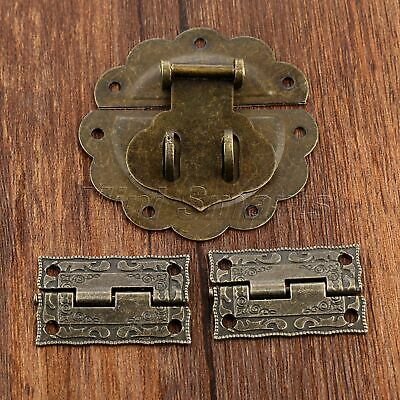 Vintage Cabinet Drawer Jewelry Box Latch Hasp & 2pc Carved Flower Hinges Kit