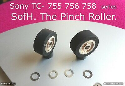 SONY TC-755, 756, 758 series @ TWO (2) NEW PINCH ROLLERS W/ SHIM WASHERS