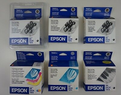 EPSON Print Ink Lot T0321 T0425 T0422 S020187 Black Cyan Multi Color Photo