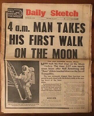 Man on the moon newspaper