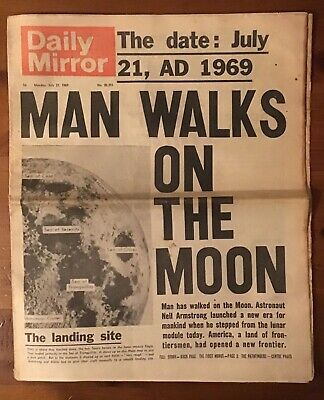 Newspaper from moon landing