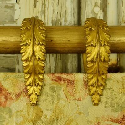 Beautiful Set 10 Antique French Toleware Acanthus Leaf Curtain Rings, 19thC