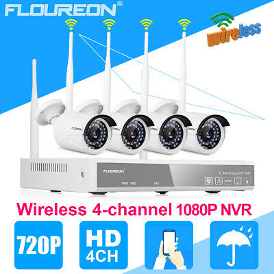 4CH 1080P Wireless Wifi DVR 720P IP Camera Video NVR Outdoor Security CCTV Kit