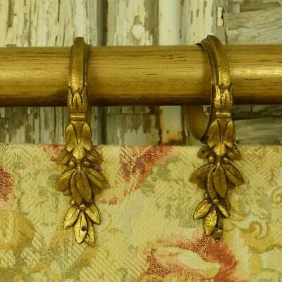 Stunning Set 10 Antique French Gilded Laurel Leaf Chateau Curtain Rings, 19th C