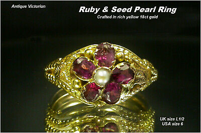 Antique Ruby & Pearl Ring size L 18ct Yellow Gold Victorian / Edwardian era