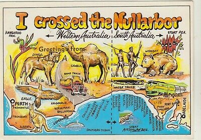 I Crossed The Nullarbor Map Western Australia Mds Postcard