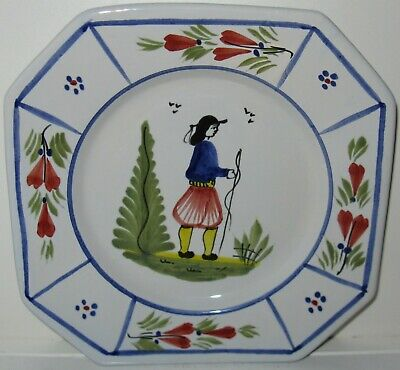 Quimper QUI18 Man Trees Red Flowers Blue Lines Salad Plate H