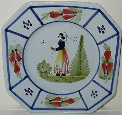 Quimper QUI18 Woman Trees Red Flowers Blue Lines Salad Plate G
