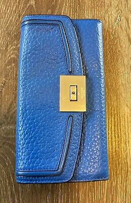Kate Spade Everett Way Jean Leather Envelope Turn Lock Wallet (Pebble) Blue