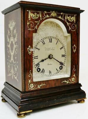 Exquisite Antique English 8 Day Inlaid Rosewood Mantel Clock Platform Escapement