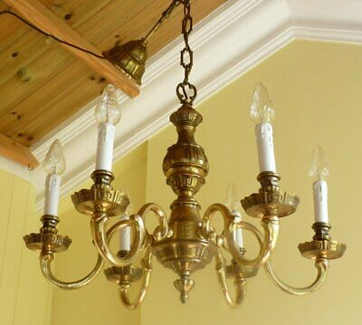 Heavy Quality antique vintage brass French Rococo chandelier ceiling light 1940s