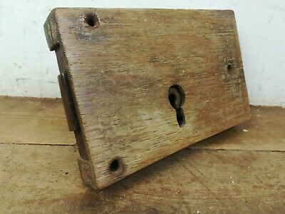 Large Antique wood cased steel door rim lock old reclaimed