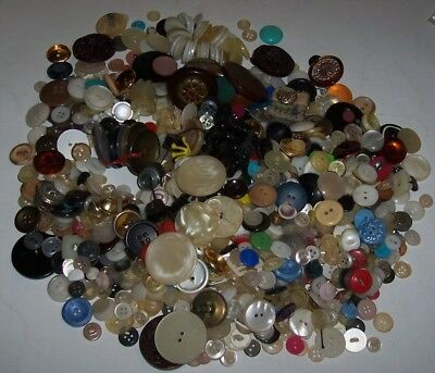 1.5 Pound Lot Of Vintage Buttons - Large And Small - Mixed Colors