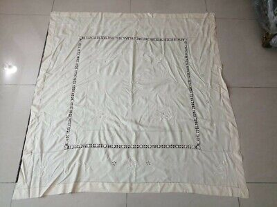 "Vintage hand embroidery cream&cream table cloth size 53""by51""condition good"