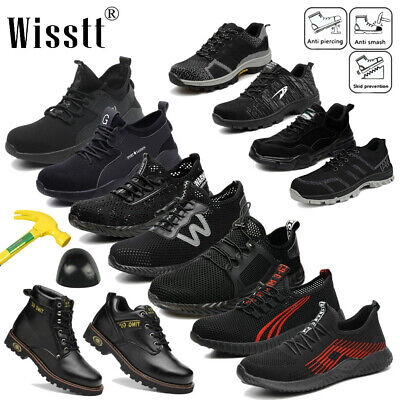 Men's Indestructible Work Boots Safety Shoes Steel Toe Black Breathable Sneakers