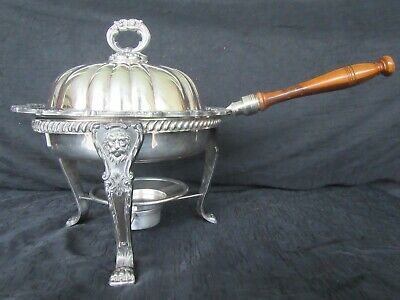 VTG Old English Silver Plate Poole 5030 Chafing Dish Warmer, Lion Head Feet