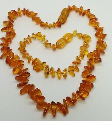 "Baltic Honey AMBER Nugget Bead Adult Necklace 18/"" N14~Silverwave*uk"