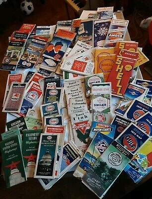 Lot of 1930's 1940's 1950's Road Maps Old Gas Station Maps Great Graphics 100+