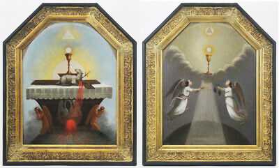 Antique pair of religious Masonic Rosicrucian paintings 18th century esotericism