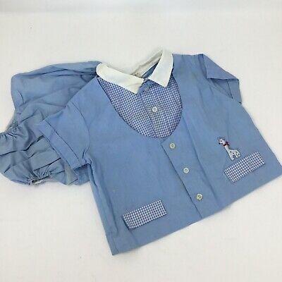 Vintage Baby Clothes Boy 2 Piece Shorts Outfit Wash N Wear Light Blue 1980's 12M