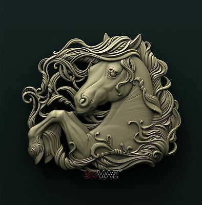 3d STL Model Relief for CNC Router _ Horse  _0081