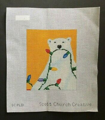 Scott Church Hand-painted Needlepoint Canvas Polar Bear With Christmas Lights
