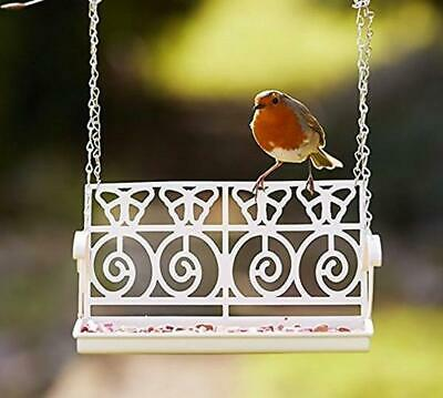 Garden White Hanging Ornate Vintage Bird Feeder Station Garden Bench Swing Seat