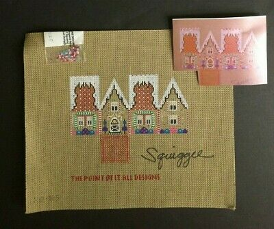 Squiggee Hand-painted Needlepoint Canvas Bright & Colorful 3-D Holiday House #2