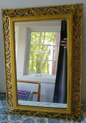 "Beautiful Vintage Syroco Gold Ornate Wall Mirror 25""x 17"""