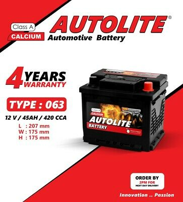 Autolite 063 Car Battery 45Ah 12V 420 Cca Smf 4 Years Warranty
