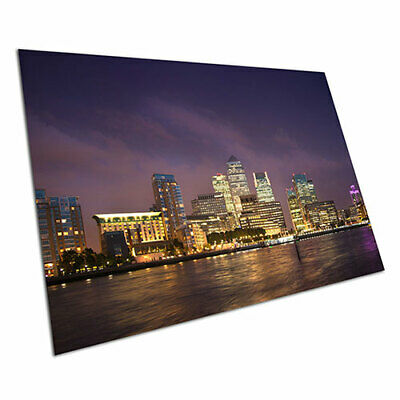Poster print London business skyline Canary Wharf at night river Thame A1 Poster
