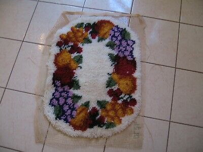 Beautiful Vintage Oval Latch Hook Rug With Fruit