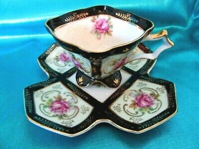 Unique Royal Sealy Square Black Pink Rose 4 Footed Teacup Cup & Saucer