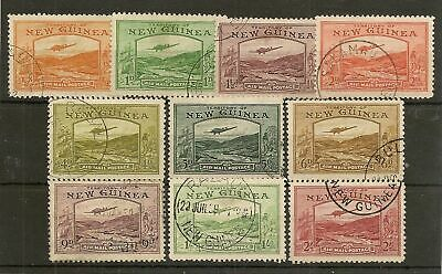 NEW GUINEA 1939 KGVI AIRS TO 2/- SG212/222 (EX 3d) FINE USED