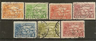 New Guinea 195 Native Village (7) Vals To 2/- Used