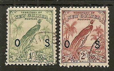 New Guinea Officials 1932 Redrawn Bird Of Paradise  Sg052/053 Fine Used