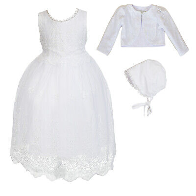 Baby Girls White Lace Christening Gown Bolero with Bonnet 0 3 6 9 12 18 Months