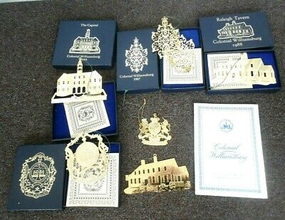 """Lot of 7 Colonial Williamsburg 24kt Gold Finish Ornaments """"The Capitol & More"""